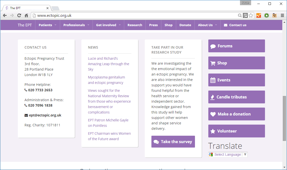 The Ectopic Pregnancy Trust website
