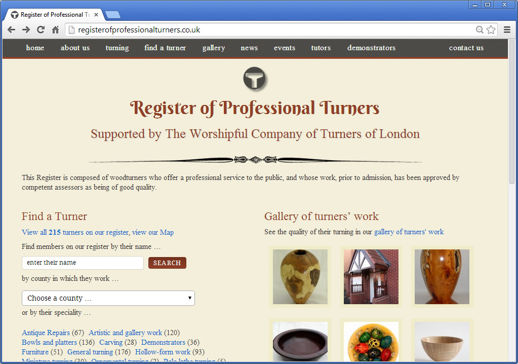 Register of Professional Turners home